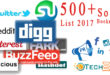 Top 500+ Social Bookmarking Sites List by their Page Rank