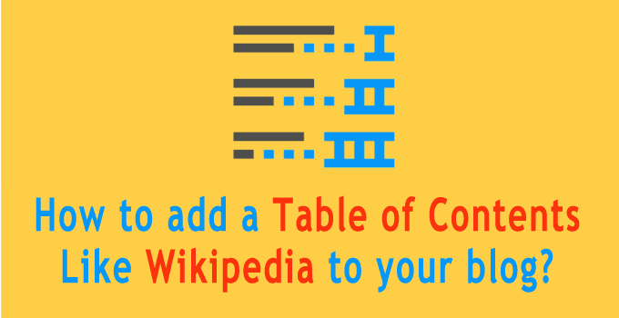 Add table of content to your wordpress blog